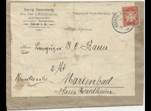 Bayern 1898, EF 10 Pf. auf Zeitungs Schleife v Fürth n. Marienbad, Österreich