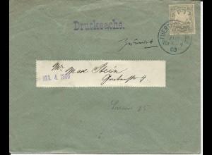 Bayern 1900, EF 2 Pf. auf Orts Drucksache v Fürth m. ZURÜCK Vermerk