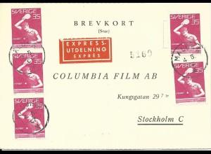 Schweden 1967, MeF 5x35 öre Tischtennis WM auf Express Antwort-Karte