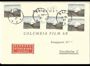 Schweden 1967, MeF 5x35 öre Gebirge (Fjäll) auf Express Antwort-Karte v. Sala.