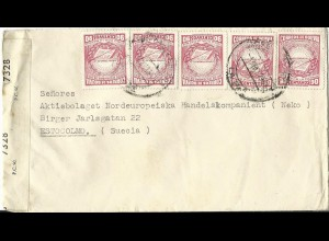 Bolivien, MeF 5x90 C. Revolution 1943 auf Zensur Brief n. Schweden