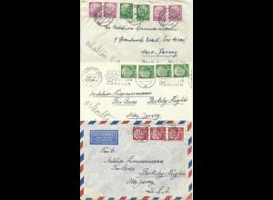 BRD, 3 Briefe m. versch. Heuss Frankaturen i.d. USA. Von München u. Ingolstadt