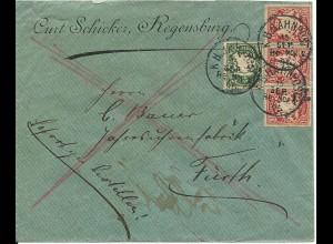 Bayern 1896, 5+3X10 Pf. auf Bahnpost Eilboten Brief v. Regensburg