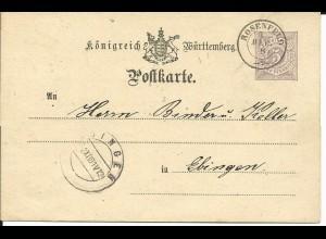 Württemberg 1881, K2 ROSENFELD klar auf 5 Pf. Ganzsache