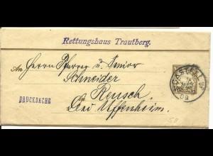 Bayern S8, 3 Pf. Streifband Ganzsache m. K1 CASTELL v. Trautberg n. Reusch