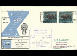 Indien 1963, MeF 2x15 nP NASHORN auf Flug Brief v. Neu Delhi n. Thailand