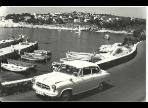 Jugoslawien, Crikvenica m. Borgward Oldtimer, ungebr. sw-Foto AK