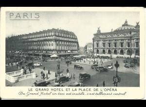 Frankreich, Paris, Grand Hotel et Place de l´Opéra m. Oldtimer, 1937 gebr. sw AK