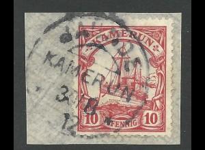 Kamerun 22, 10 Pf. auf Briefstück m. Stpl. JAUNDE