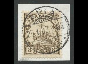 Samoa 7, 3 Pf. auf schönem Briefstück m. Stpl. APIA