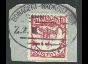Kamerun, 10 Pf. auf Briefstück m. Bahnpost Stpl. BONABERI-NKONGSAMBA. Geprüft