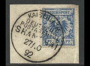 China V48, 20 Pf. DR auf schönem Briefstück m. Stpl. KDPA SHANGHAI