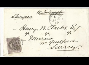 Gibraltar 1865, 6d GB auf schönem Vorläufer Brief m. Stpl. A26 u. klarem kl. K1