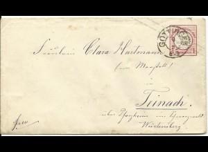DR U1, 1 Gr. Ganzsache Brief m. Hannover Stpl. Göttingen